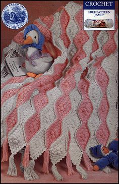 Free Crochet Pattern: Wavy Baby Crochet Blanket ༺✿ƬⱤღ https://www.pinterest.com/teretegui/✿༻