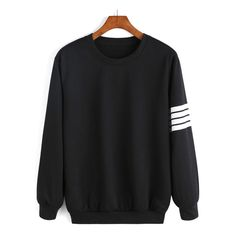 Round Neck Varsity-Striped Sweatshirt ($11) ❤ liked on Polyvore featuring tops, hoodies, sweatshirts, sweaters, sweatshirt, romwe, shirts, sweatshirts hoodies, sweatshirt shirts et striped top