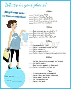 Baby Shower Game-Whats in your phone?- Blue Color #babyshowerboy