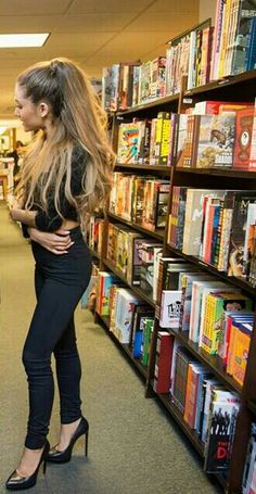Ariana Grande in library