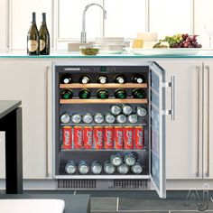 "Liebherr RU500 24"" Freestanding Beverage Center with 29 Wine Bottle Capacity, 88 Can Capacity, 2 Telescopic Wine Racks and 2 Glass Shelves"