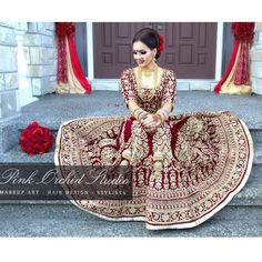 """Our beautiful bridal client Raman's wedding look. We love the deep maroon shade of her velvet bridal lengha which is by is @wellgroomedinc. Her look was…"""