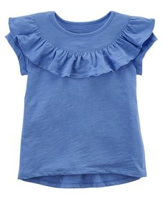 Crafted in soft cotton jersey with ruffle detail, this hi-lo tee pairs perfectly with a jersey skort for a sweet spring look! Kids Girls Tops, Baby Girl Tops, Carters Baby Girl, Girls Tees, Girls 4, Toddler Girl Shorts, Toddler Outfits, Kids Outfits, Girls Dresses Sewing