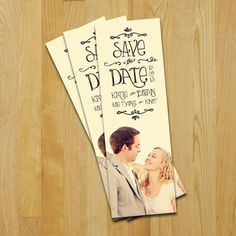 Bookmarks!  Not for save the date, for something else perhaps.  And look at the names!!!    Save The Date Bookmark Sunnyside Wedding. $1.00, via Etsy.