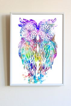 Watercolor Owl Dream Catcher Native American Print by LinkTee