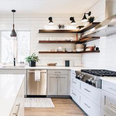 There is no question that designing a new kitchen layout for a large kitchen is much easier than for a small kitchen. A large kitchen provides a designer with adequate space to incorporate many convenient kitchen accessories such as wall ovens, raised. Floating Shelves Diy, Open Shelves, Glass Shelves, Kitchens With Open Shelving, Wall Shelves, Upper Cabinets, Dark Cabinets, Cupboards, Cuisines Design