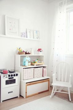 Utilize a corner of your kids bedroom and turn that area into a playroom.