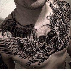 Chest Tattoo Skull, Chest Tattoo Drawings, Cool Chest Tattoos, Chest Piece Tattoos, Pieces Tattoo, Badass Tattoos, Ring Finger Tattoos, Head Tattoos, Skull Tattoos