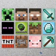 INSTANT DOWNLOAD / Minecraft / Party tags / toppers via Etsy                                                                                                                                                                                 Mais