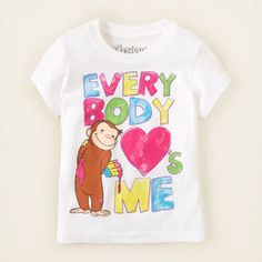 Love Curious George graphic tee