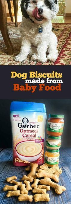 These dog biscuits are made entirely from baby food. This is an easy, economical and healthy way to treat your dog.