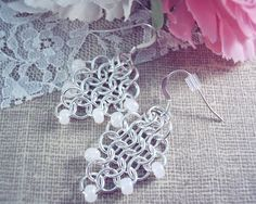 925 Sterling Silver Earrings  Wedding Earrings Chain Mail #handmade #jewelry #earrings #silver #sterling #925 #pearl #wedding #dress  #bride #bridle #bridesmaid #white #lace #chain #mail