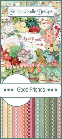 Whether our friends are near or far-away, they can bring a smile to our face whenever we think of them.    Good Friends by Snickerdoodle Designs was designed in lovely, soft pastels, with just the right about of color pop to add excitement to your digital scrapbook pages. Several word art graphics are included in the kit to assist with page themes.