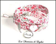 bracelet liberty Phoebe rose 3 tours (personnalisable) : Bracelet par dafi51