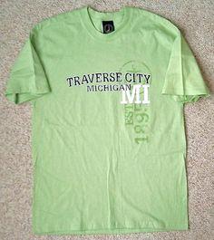 new TRAVERSE CITY MICHIGAN T-SHIRT Light-Mint-Green Tee Mens/Womens-Adult-LARGE #LighthouseApparel #ShortSleeve