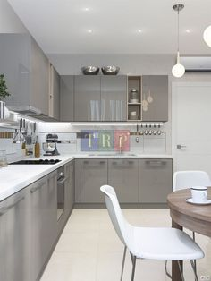 Grey kitchen ideas brings an excellent breakthrough idea in designing our kitchen. Grey kitchen color will make our kitchen look expensive and luxury. Modern Grey Kitchen, Grey Kitchen Designs, Kitchen Room Design, Modern Kitchen Cabinets, Contemporary Kitchen Design, Grey Kitchens, Kitchen Cabinet Design, Interior Design Kitchen, Kitchen Ideas