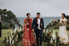 Indian wedding in New Zealand with a cliffside ceremony