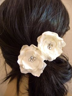 Swarovski Ivory satin Rose Hair Pin.  Buy at www.BellaCescaBoutique.Etsy.com