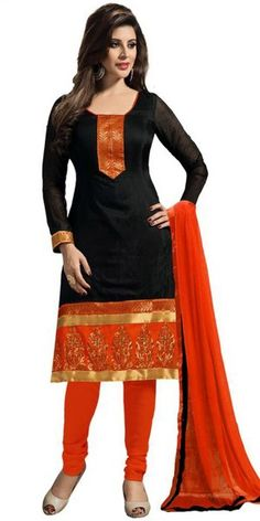 Sweet Cotton Straight Suit In Black And Orange Color.