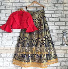 Budget Less Than Twisted Threads Has The Best Festive Lehengas - Ethnic Crop Top, Indian Crop Tops, Kids Blouse Designs, Crop Top Designs, Mehendi Outfits, Indian Outfits, Indian Dresses, Brocade Lehenga, Blue Lehenga