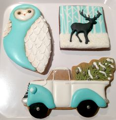 Winter / Holidays Cookies - owl, reinderr, christmas tree  Pinned by www.myowlbarn.com