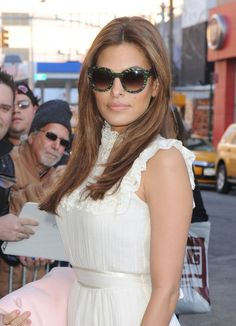 Eva Mendes stopped by The Daily Show With Jon Stewart in NYC wearing cute shades.
