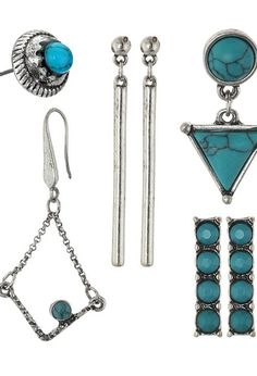Steve Madden Turquoise Halo Bar Dangling Triangle Feather Chain Tassel and Diamond Shaped Post Earrings Set (Silver) Earring - Steve Madden, Turquoise Halo Bar Dangling Triangle Feather Chain Tassel and Diamond Shaped Post Earrings Set, SME432686BS, Jewelry Earring General, Earring, Earring, Jewelry, Gift, - Fashion Ideas To Inspire