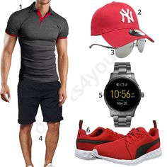 Grau-Rotes Herren-Outfit mit Smartwatch (m0433) #outfit #style #fashion #menswear #mensfashion #inspiration #shirt #cloth #clothing #männermode #herrenmode #shirt #mode #styling #sneaker #menstyle