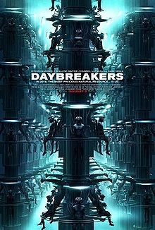 "Daybreakers: The film takes place in 2019, where a plague has turned most of the planet's human population into vampires. A vampiric corporation sets out to capture and farm the remaining humans while researching a blood substitute. Lead vampire hematologist Edward Dalton's (Ethan Hawke) work is interrupted by human survivors led by former vampire ""Elvis"" (Willem Dafoe), who has a cure that can save the human species."