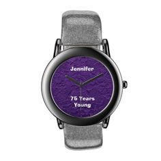 """This purple watch face is a photo of a collection of adorable rag dolls. The strap is silver glitter, but can be changed to other colors. This unique watch is a great 75th birthday gift for someone who is still a kid at heart - """"75 Years Young"""". It can be personalized, both name and number of years. Of course, it can also say """"75 Years Old"""". See more products and matching greeting cards at www.zazzle.com/SocolikCardShop*"""