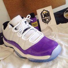 """What do you guys think of this """"Kicks0L0Grape"""" Air Jordan custom? Hit SneakerWatch.com AJ11Low"""