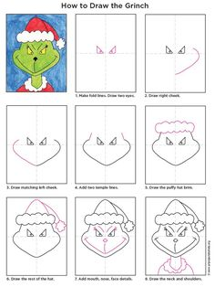 """The very mischievous face of the Grinch is easy to draw when you disassemble it in stages. I'll see if I can play my favorite song """"You are a mean, Mr. Grinch"""" when my students draw him next week. The Grinch, Grinch Christmas, 12 Days Of Christmas, Family Christmas, Kids Christmas, Christmas Crafts, Christmas Writing, Winter Art Projects, Projects For Kids"""