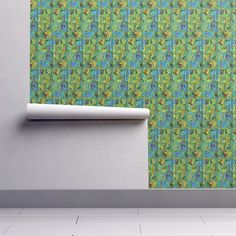 Isobar Durable Wallpaper featuring CRAZY ICE CUBES RAINBOW CANDY PARADISE GREEN BLUE by paysmage | Roostery Home Decor