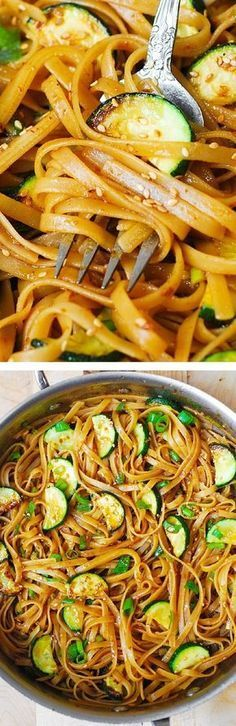 Spicy Thai Zucchini Noodles with toasted sesame seeds. Asian comfort food! Nice chix stock for veggie