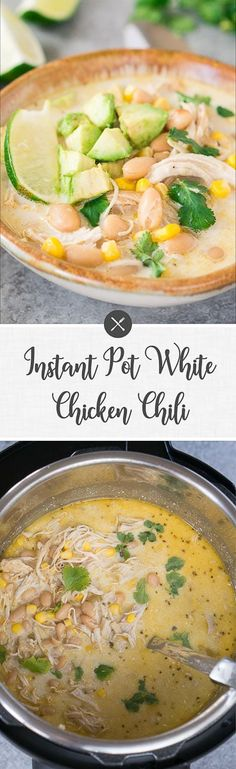 Make a delicious and rich Instant Pot white chicken chili in less than 30 minutes! This chicken chili is a great weeknight dinner!