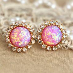 Pink Opal stud earrings with white rhinestones