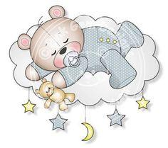 Digital (Digi) bebé niño durmiendo sello de peluche