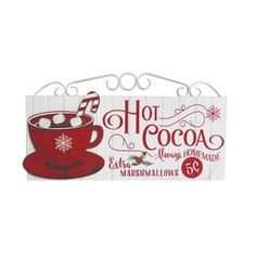 Hot Cocoa Sign: Red/White, 20 x 10.83 inches Christmas Craft Fair, Holiday Crafts, Christmas Holidays, Christmas Ideas, Christmas Canvas, Christmas Patterns, Christmas Brunch, Winter Holiday, Christmas Projects