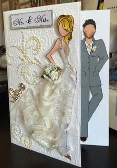 Wedding card using Julie Nutting dolls Prima Paper Dolls, Prima Doll Stamps, Wedding Scrapbook, Scrapbook Cards, Wedding Anniversary Cards, Wedding Cards, Dress Card, Pretty Cards, Greeting Cards Handmade