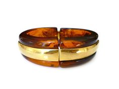 Napier Lucite Bracelet, Tortoise Shell, Brown, Root Beer, Gold Tone, Clamper Bangle, Vintage Jewelry by zephyrvintage on Etsy
