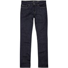7 For All Mankind Slimmy Indigo Straight-leg Jeans - Size W38 (11.020 RUB) ❤ liked on Polyvore featuring men's fashion, men's clothing, men's jeans, 7 for all mankind mens jeans, mens straight leg jeans and mens indigo jeans