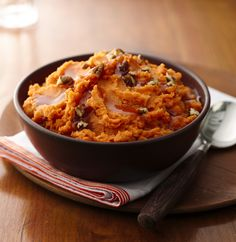 Mashed potatoes are an absolute necessity at any cold-weather feast. In this recipe, maple syrup adds depth and sweetness to velvety mashed sweet potatoes. Add a drizzle of additional maple syrup and chopped pecans to the top for an impressive presentation.