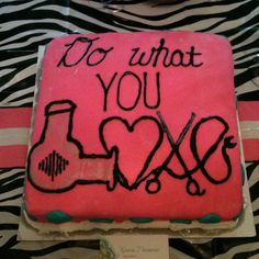 Cosmetology graduation cake .. i only like the love part ..