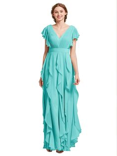 7ea36f51e6c AWEI Long Bridesmaid Dress V-Neck Evening Dress Chiffon Prom Dress 2018  Women Dress With Ruffles