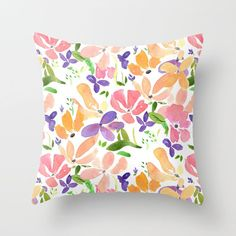 Floral Throw Pillow, watercolor flowers,  feminine, rectangle bright colorful, floral decor, pillows, throw pillow, flowery by ArtfullyFeathered on Etsy https://www.etsy.com/listing/564553051/floral-throw-pillow-watercolor-flowers