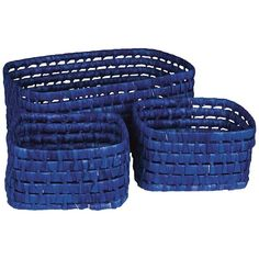 EIGHTMOOD Cobalt Blue Picnic Basket - Set of 3 ($23) ❤ liked on Polyvore featuring home, kitchen & dining, food storage containers, cobolt blue, storage baskets, blue baskets, colored storage baskets and blue storage baskets