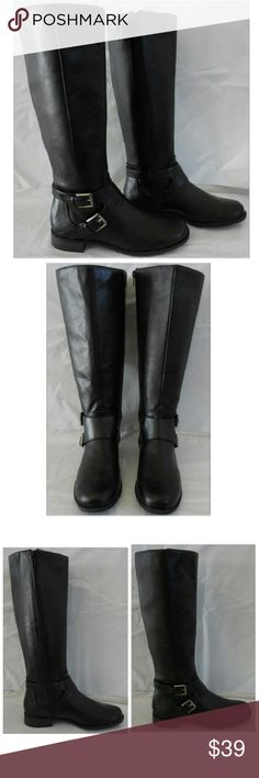 """Unlisted Kenneth Cole Black Knee High Riding Boots Unlisted by Kenneth Cole Riding Boots Style Can You Spare Boots are new in box but are store closeouts and may have been displays or tried on They have a few small flaws on close look shown in close ups on last photo Boots shown in picture are our stock photo but last picture shows actual flaws on boots you will receive  Manufacturer specs are 15 inch shaft, 15"""" calf, 1 inch block heel, TPR traction outsole Manmade faux leather look upper…"""