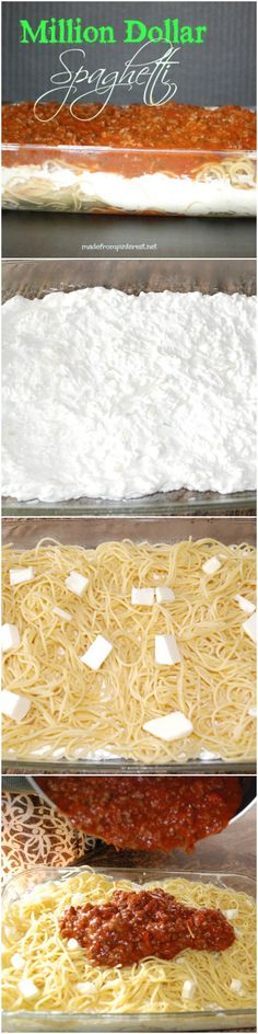 MILLION DOLLAR SPAGHETTI When all else fails, make spaghetti! But not just any spaghetti, Million Dollar Spaghetti. Your family will think you slaved in the kitchen all day. It will be our little secret! Think Food, I Love Food, Good Food, Yummy Food, Tasty, Italian Recipes, Beef Recipes, Cooking Recipes, Recipies