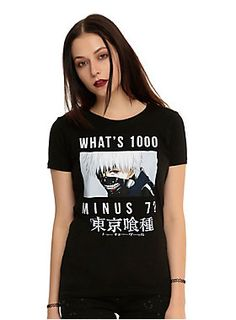 "<p>Fitted black tee from <i>Tokyo Ghoul</i> with a large Ken Kaneki character design on front that asks ""What's 1000 Minus 7?""</p><ul>	<li>100% cotton</li>	<li>Wash cold; dry low</li>	<li>Imported</li>	<li>Listed in junior sizes</li></ul>"
