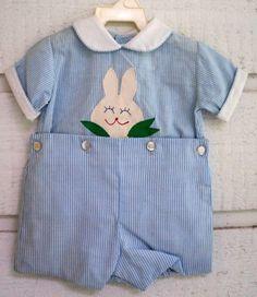 eee611946 Vintage Boys Blue and White Striped Easter Bunny by breedbabynyc Ropa Bebe,  Traje De Pascua